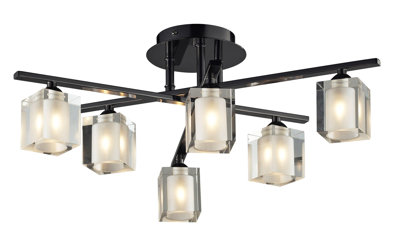 Narran Cubic Black Nickel Effect 6 Lamp Ceiling Lamp