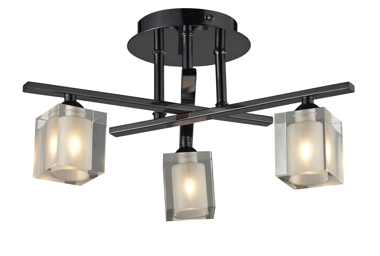 Narran Cubic Black Nickel Effect 3 Lamp Ceiling Lamp