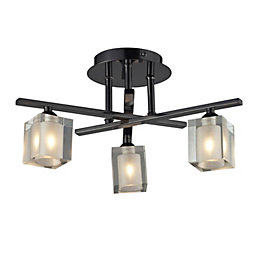 Narran Cubic Black Nickel Effect 3 Lamp Ceiling
