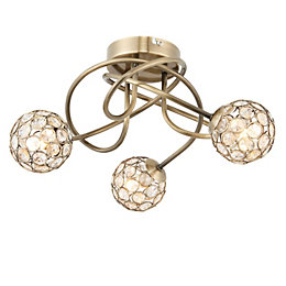 Lopez Antique Brass Effect 3 Lamp Ceiling Light