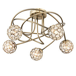 Lopez Antique Brass Effect 5 Lamp Ceiling Light
