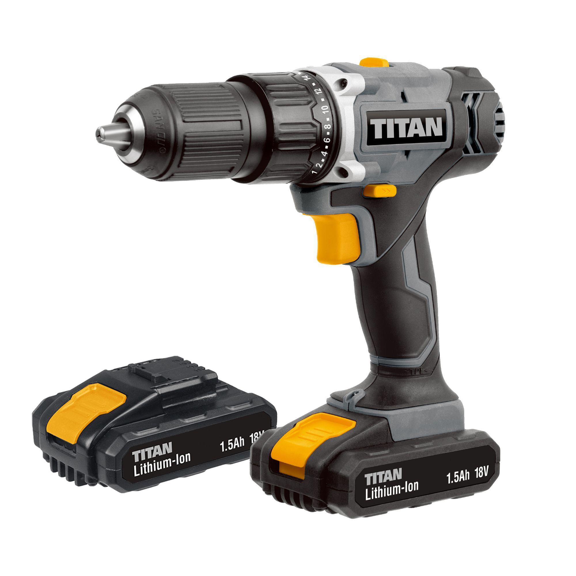 Titan Cordless 18v 1.5ah Li-ion Combi Drill 2 Batteries Tti699com