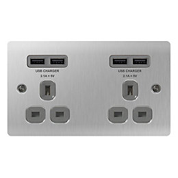 Colours 13A Brushed Steel Unswitched Socket & USB