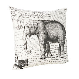 Printed Elephant Cream & Black Cushion