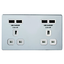 Colours 13A Chrome Effect Unswitched Socket & USB