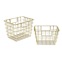 Colours Marlow Gold Effect Wire Storage Basket, Set