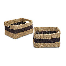 Colours Black Striped Seagrass Storage Basket, Set of