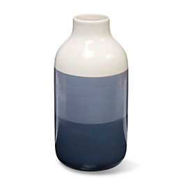 Blue & Cream Glazed Ombre Ceramic Vase, Large