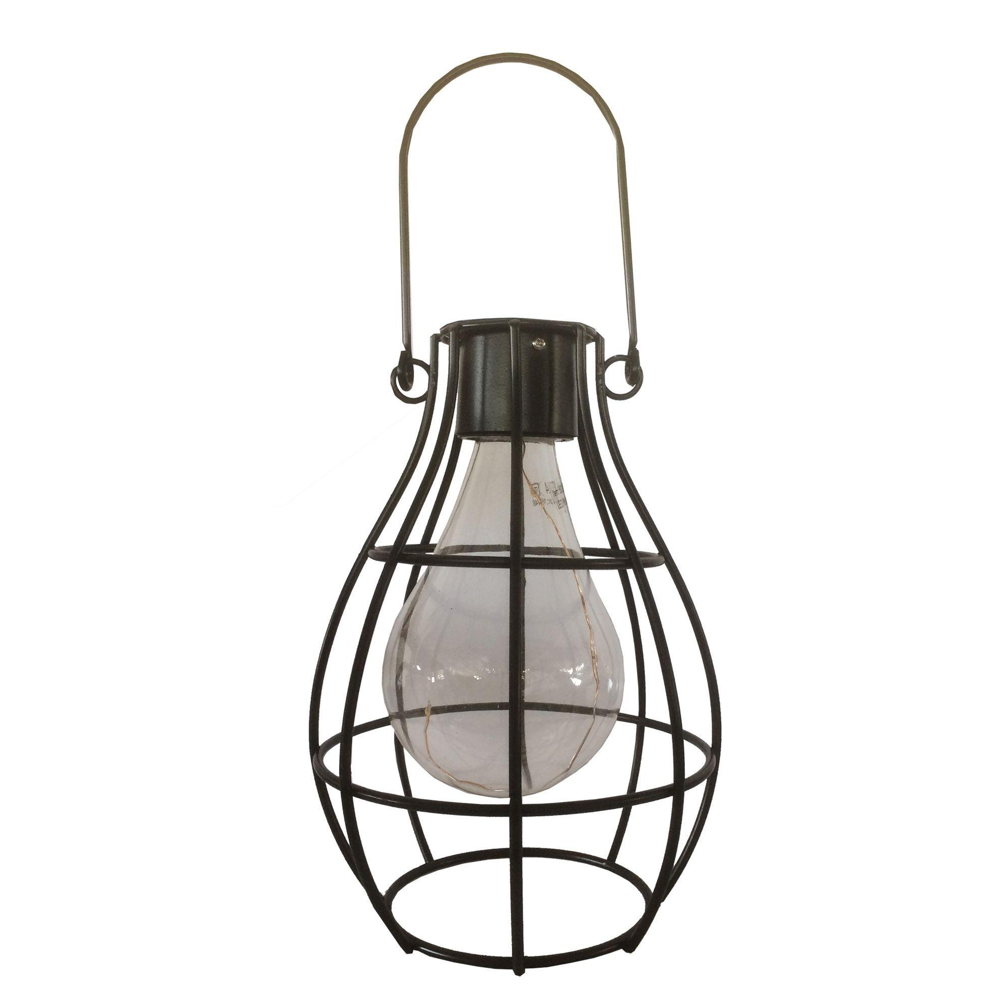 Solar Lights B Q: Blooma Ellopos Black Matt Caged Solar Powered LED Hanging