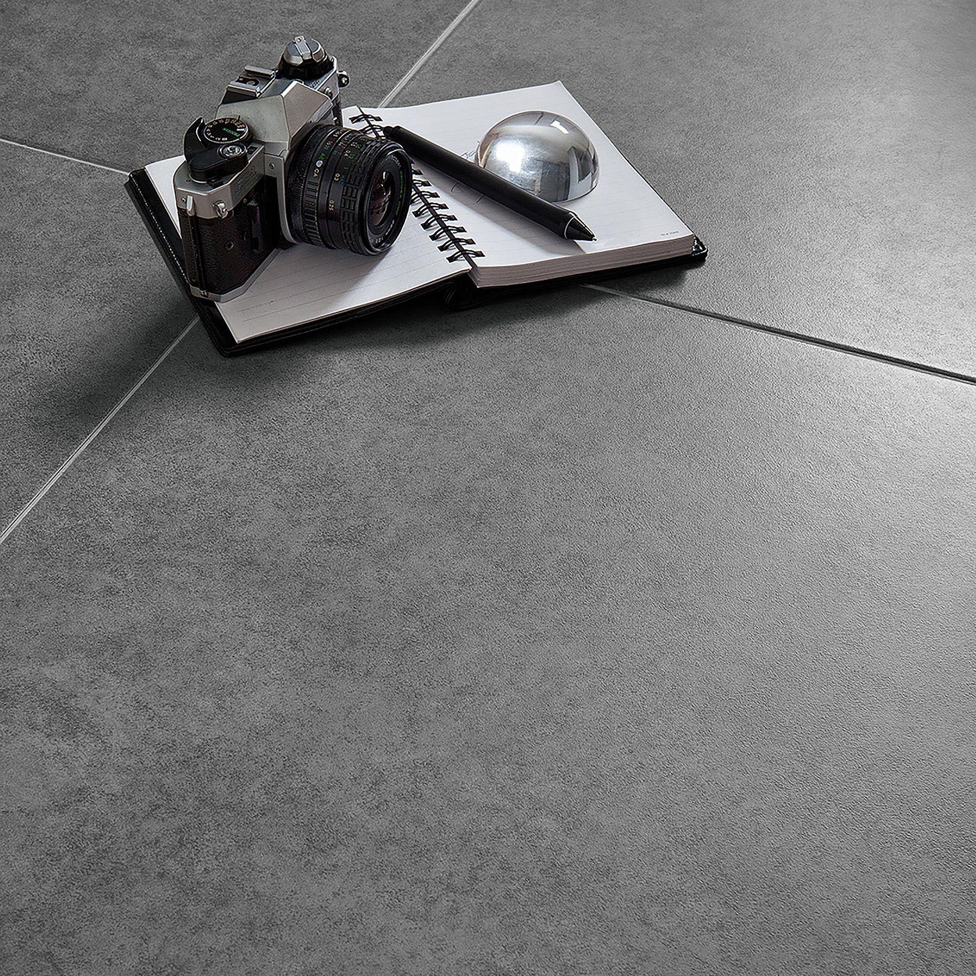Grey Cement Inspired Design Porcelain Floor Tile, Pack of 5, (L)450mm (W)450mm