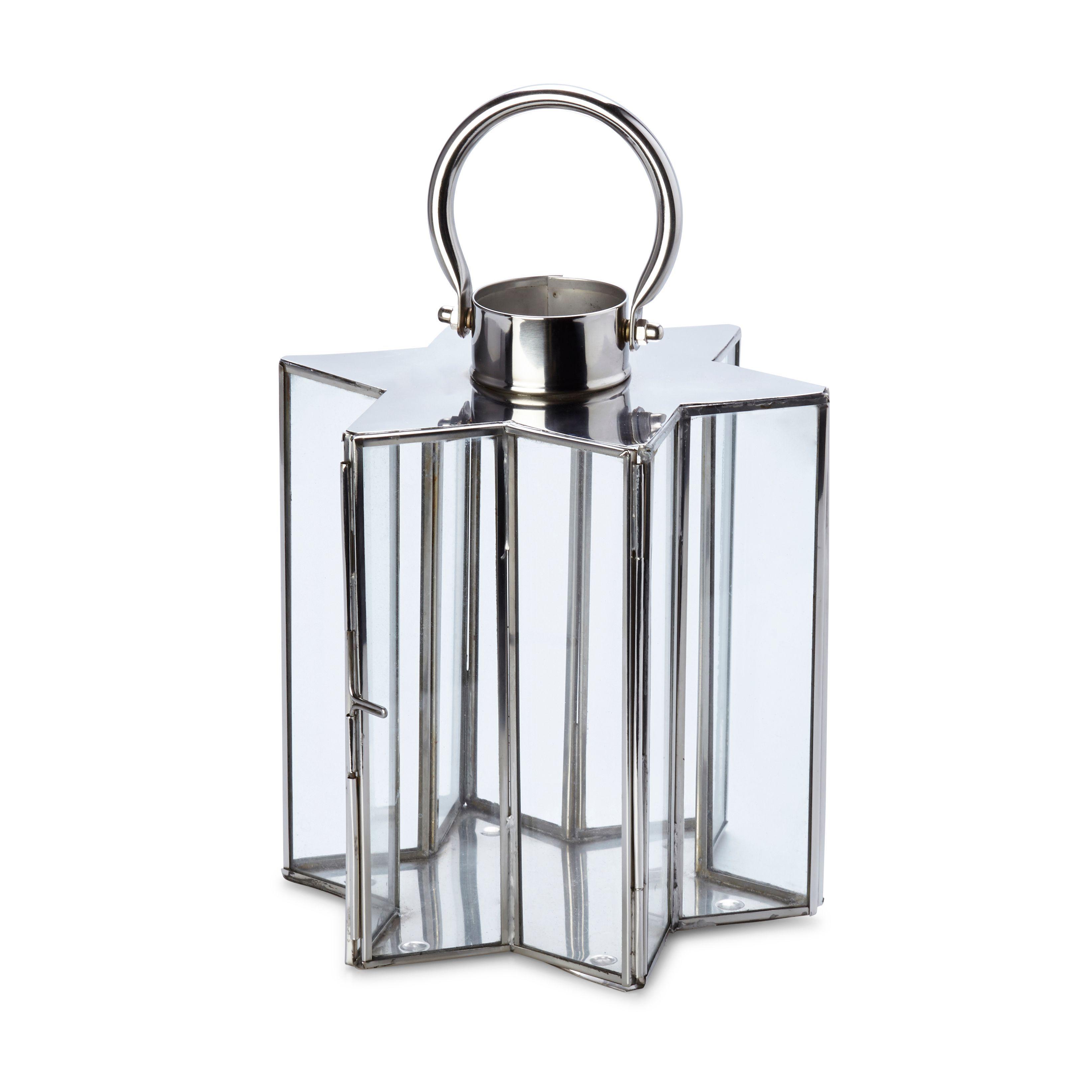 Star Glass & Stainless Steel Lantern