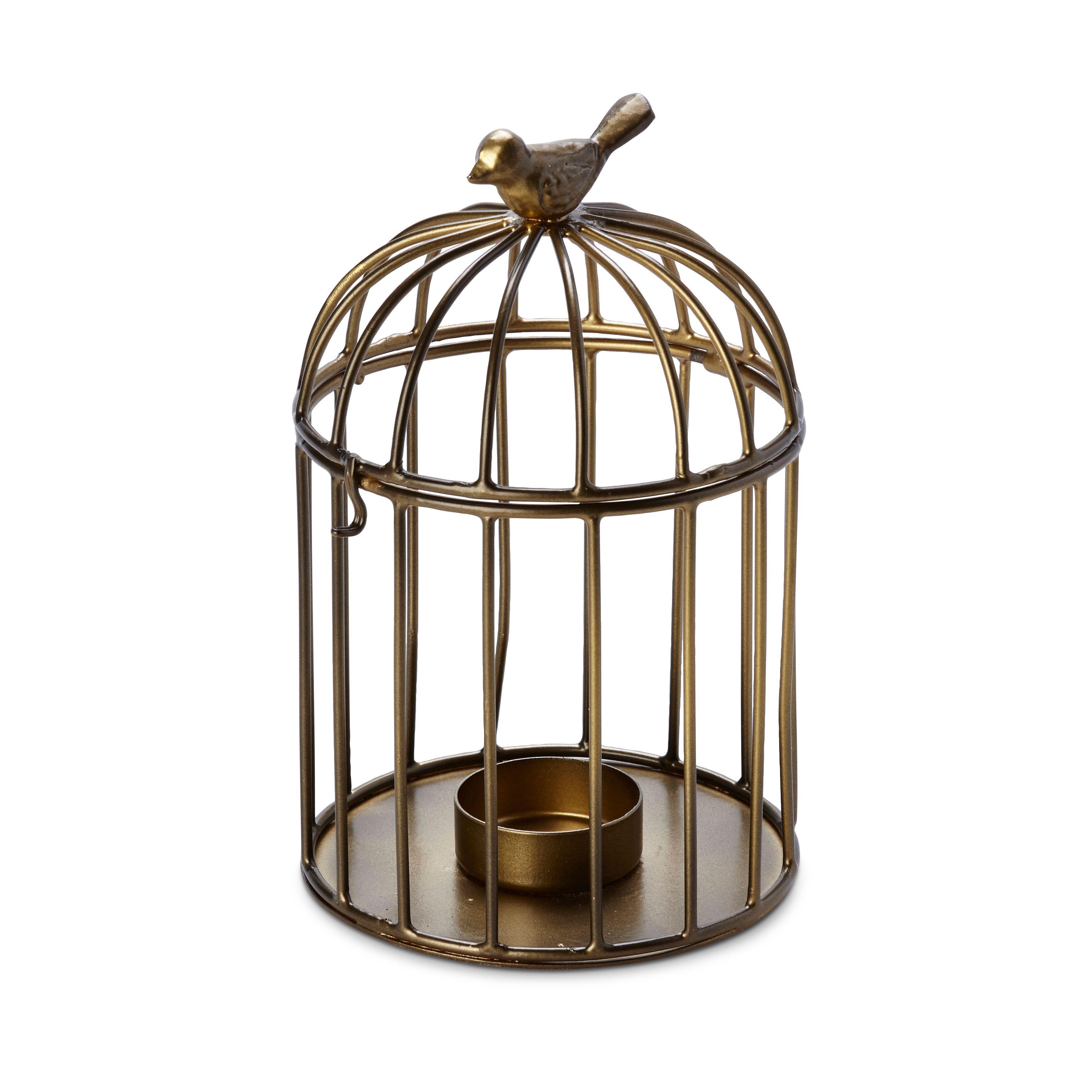 Brushed Gold Effect Bird Cage Iron Tealight Holder