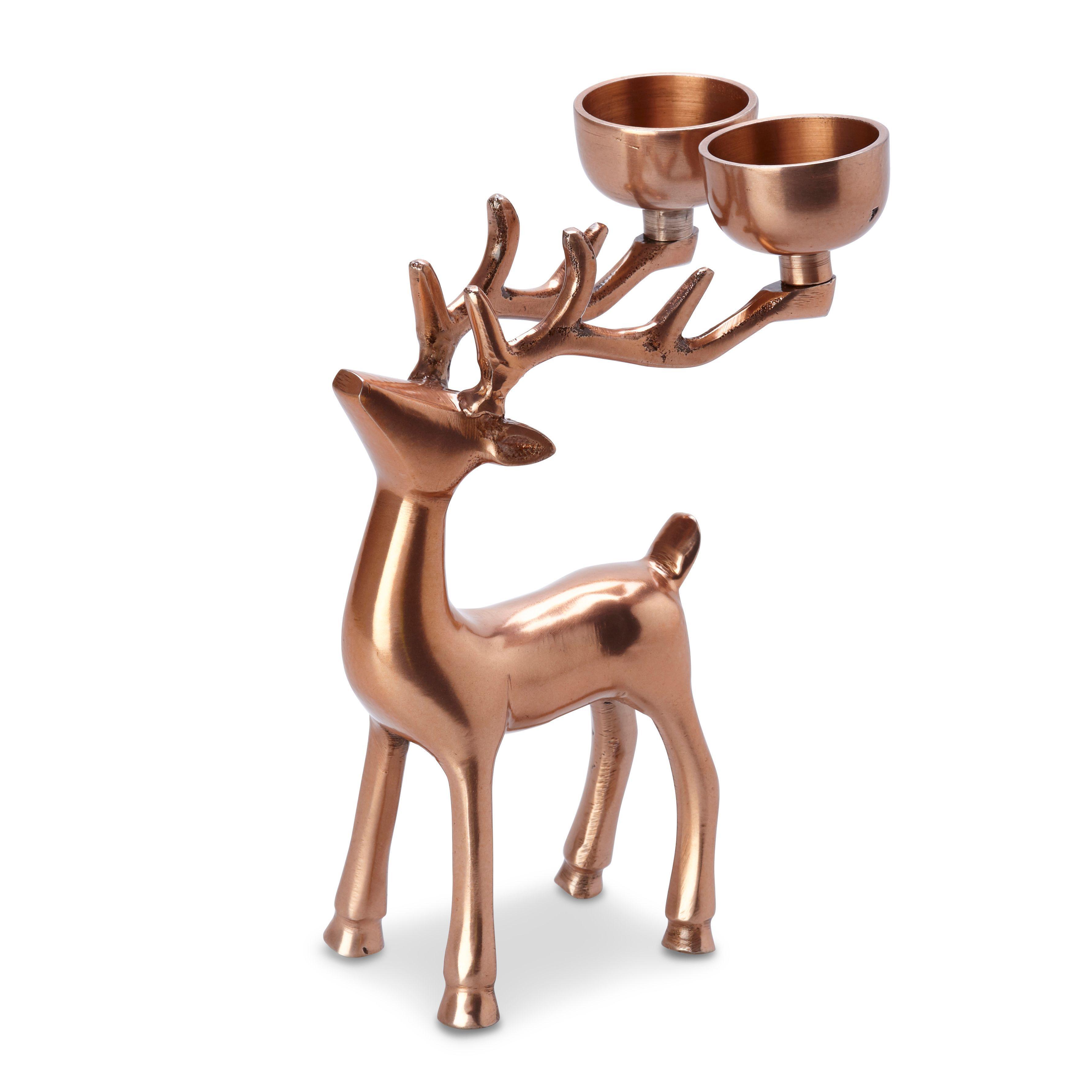 Copper Effect Reindeer Aluminium Tealight Holder