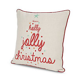 Christmas Words Natural & Red Cushion