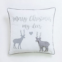Christmas Deer White & Grey Cushion