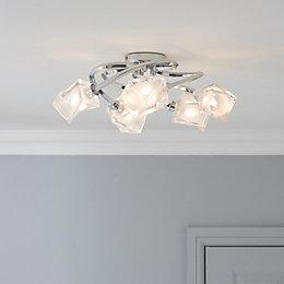 Borrello Swirl Chrome Effect 5 Lamp Ceiling Light