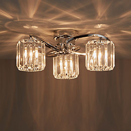 Bromley Bevelled Glass Chrome Effect 3 Lamp Ceiling