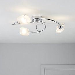 Ferro Spiral Chrome Effect 3 Lamp Ceiling Light