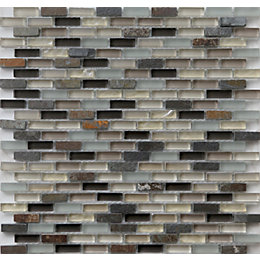 Lodi Beige Glass Mosaic Tile, (L)286mm (W)286mm
