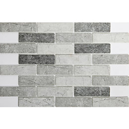 Sassari Grey Glass Mosaic Tile, (L)298mm (W)262mm