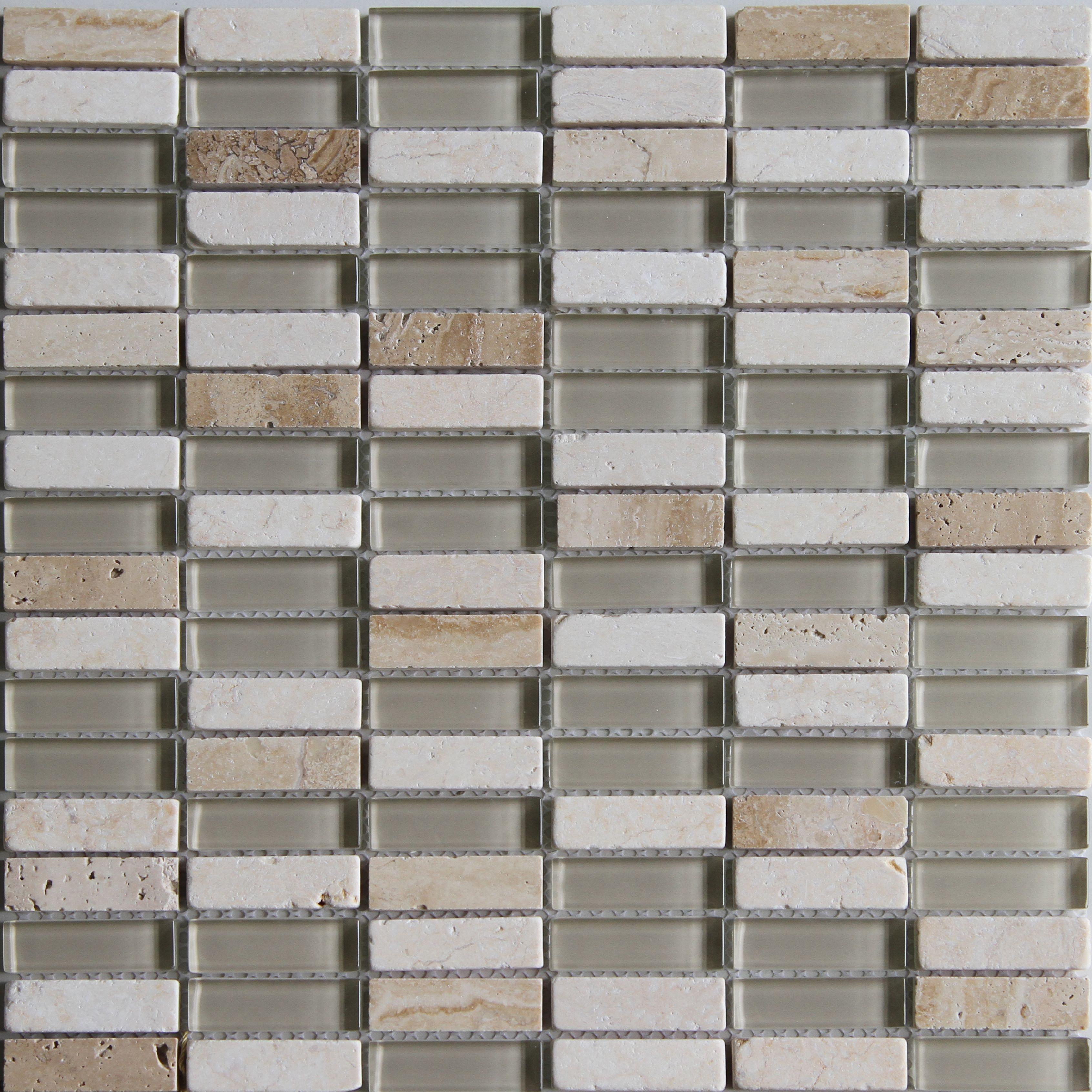 Belluno Beige Glass & Marble Mosaic Tile, (l)304mm (w)298mm