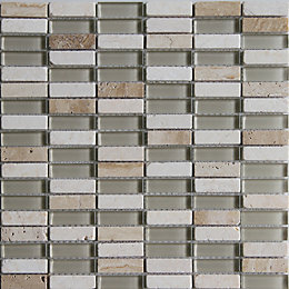 Belluno Beige Glass & Marble Mosaic Tile, (L)304mm