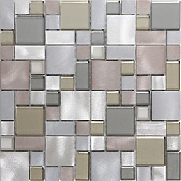 Rovigo Grey Glass Aluminum Mosaic Tile, (L)304mm (W)292mm