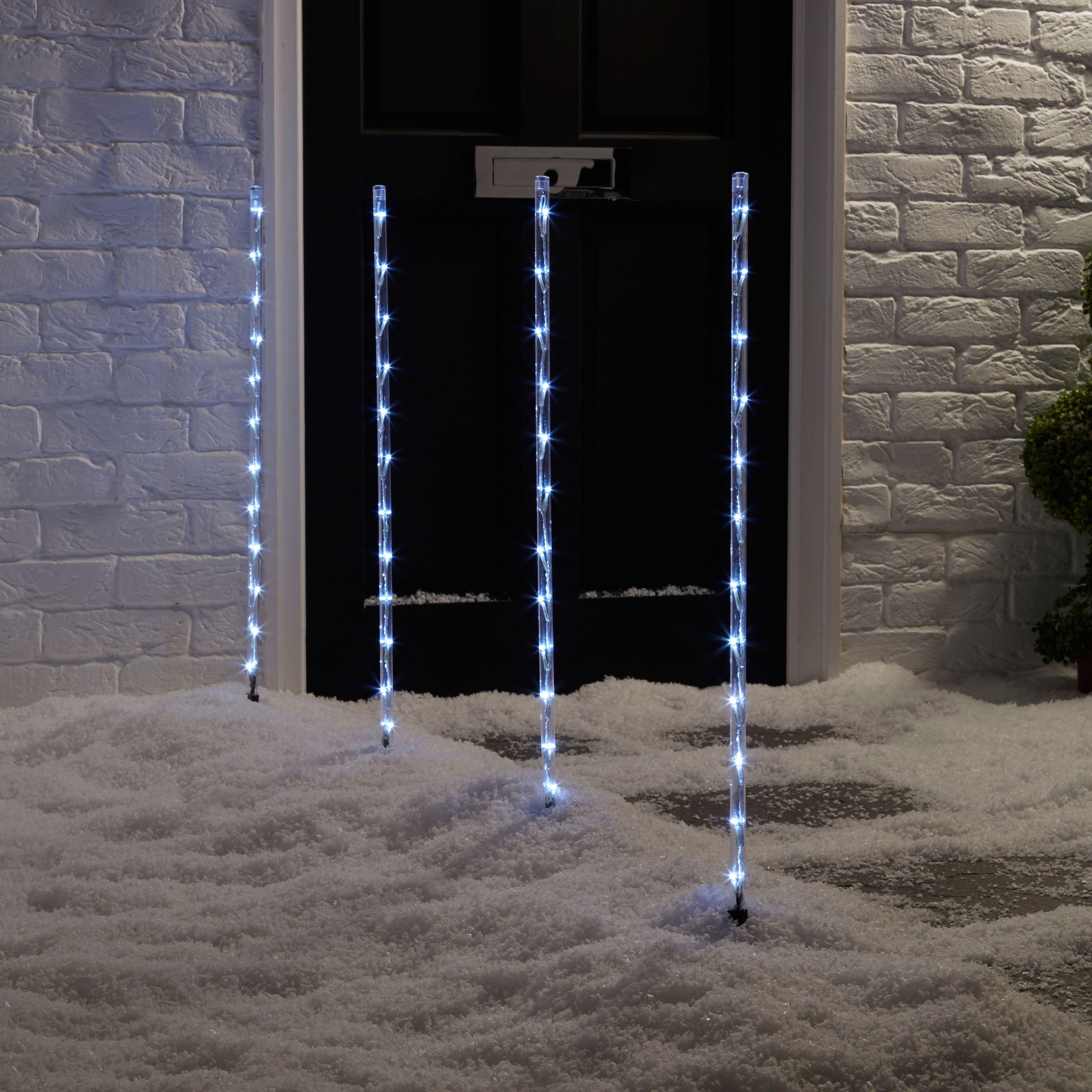 4 White Led Digital Stake Lights