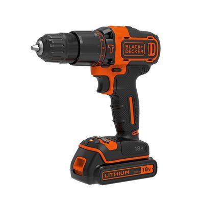 Black & Decker Cordless 18v 1.5ah Lithium Hammer Drill 1 Battery Bdhd18-bqgb