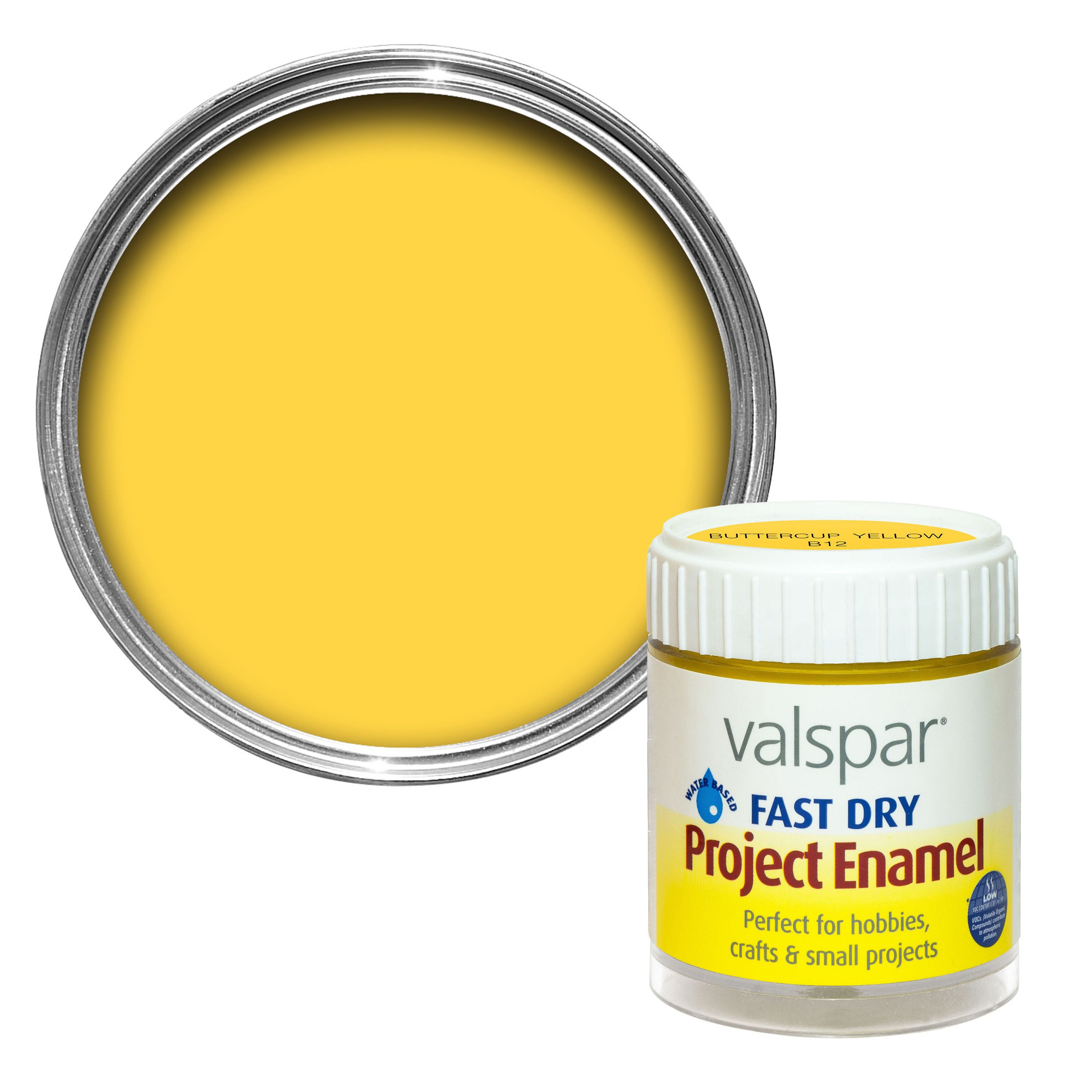 Valspar buttercup yellow satin enamel paint 59 ml for Metallic yellow paint
