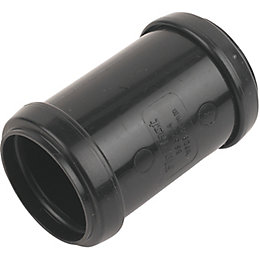 Floplast Push Fit Waste Coupling (Dia)40mm, Black