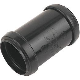 Floplast Push Fit Waste Coupling (Dia)40mm, Black