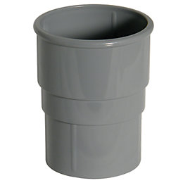 Floplast Round Gutter Downpipe Socket (Dia)68mm, Grey