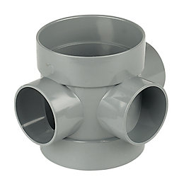 Floplast Ring Seal Soil Boss Pipe (Dia)110mm, Grey