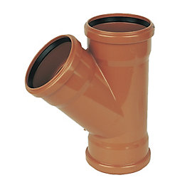 Floplast Underground Drainage Equal Junction (Dia)110mm, Terracotta