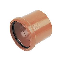 Floplast Underground Drainage Socket Coupler (Dia)110mm, Terracotta