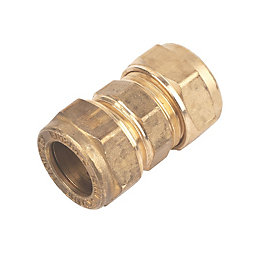Plumbsure Compression Straight Coupler (Dia)15mm, Pack of 10