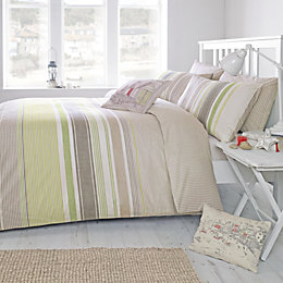 Falmouth Striped Green & Taupe Double Bed Set