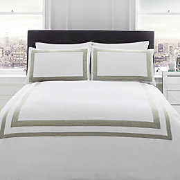 Signature Norada Border Stripe White Single Bed Set