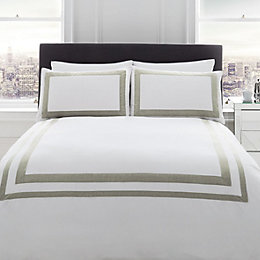 Signature Norada Border Stripe White King Size Bed