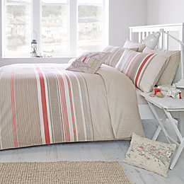 Falmouth Striped Terracotta Double Bed Set