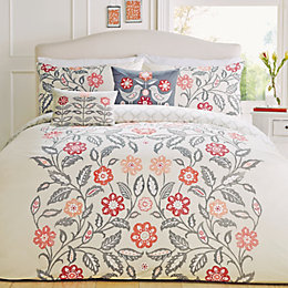 Montague Floral Red & Grey King Size Bed