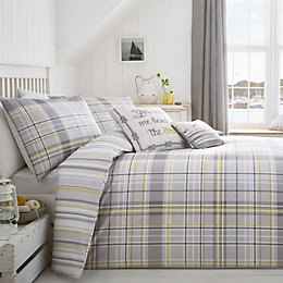 Rathmoore Check Grey & Yellow Double Bed Set