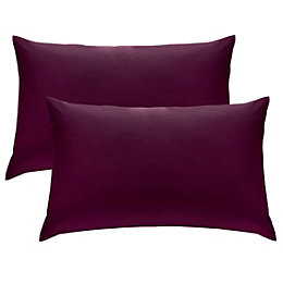 Chartwell Plain Housewife Plum Pillow Case, Pack of