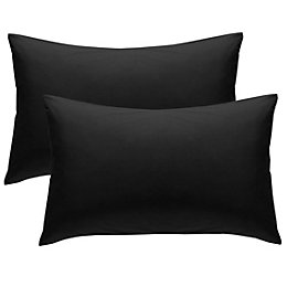 Chartwell Plain Housewife Black Pillow Case, Pack of
