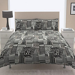 Chartwell City Scape Contemporary Black Double Bed Cover