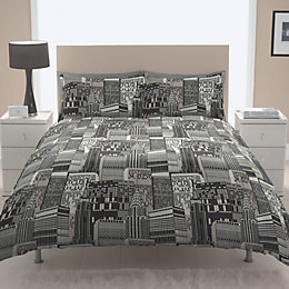 Chartwell City Scape Contemporary Black Single Bed Cover