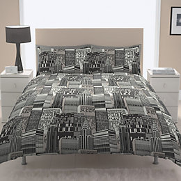 Chartwell City Scape Contemporary Black Kingsize Bed Cover