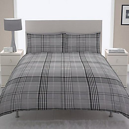 Chartwell Dublin Check Black Double Bed Cover Set