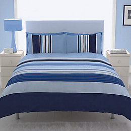 Chartwell Barcode Striped Blue King Size Bed Cover